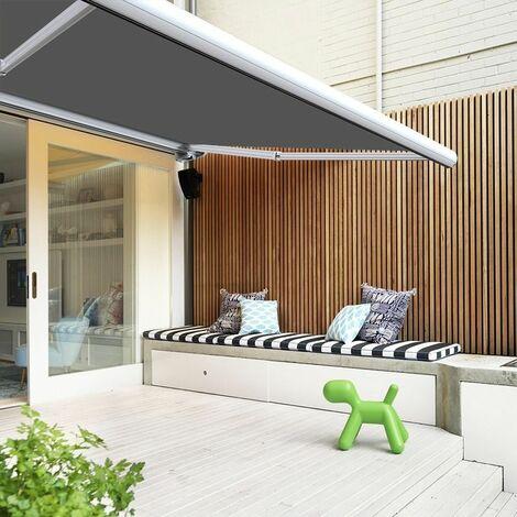 Store banne extérieur coffre intégral motorisé et manuel pour terrasse - Gris - 3,5 x 3 m