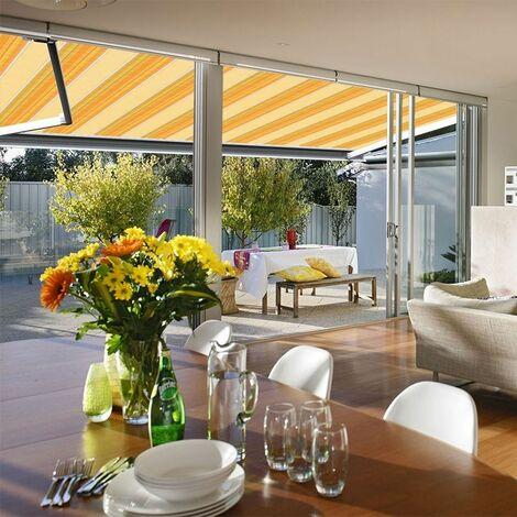 Store banne extérieur coffre intégral motorisé et manuel pour terrasse - Jaune rayé