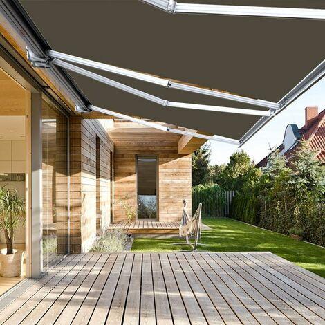Store banne extérieur coffre intégral motorisé et manuel pour terrasse - Taupe