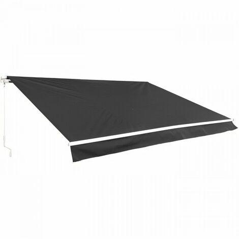 Store banne manuel 4 x 3 m - sans coffre - toile grise anthracite