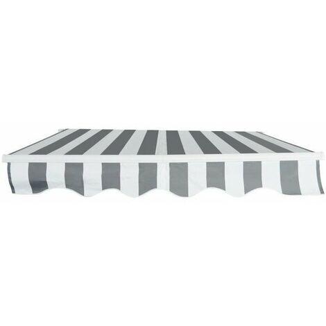Store banne manuel 4 x 3 m - sans coffre - toile rayée blanche et grise