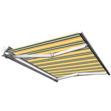 Store banne manuel Demi coffre pour terrasse - Gris jaune - 3,6 x 3 m