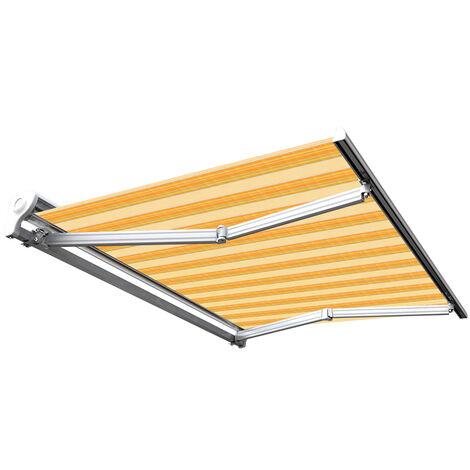 Store banne manuel Demi coffre pour terrasse - Jaune rayé - 3,6 x 3 m