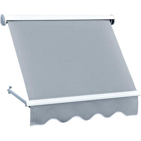 Store banne manuel inclinaison réglable aluminium polyester imperméabilisé 120L x 70l (avancée) cm gris