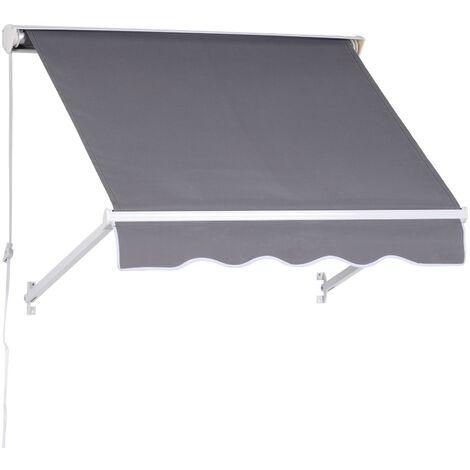 Store banne manuel inclinaison réglable aluminium polyester imperméabilisé 130L x 120l x 70H cm gris