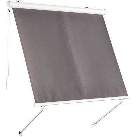 Store banne manuel inclinaison réglable aluminium polyester imperméabilisé 2L x 2,45l m gris
