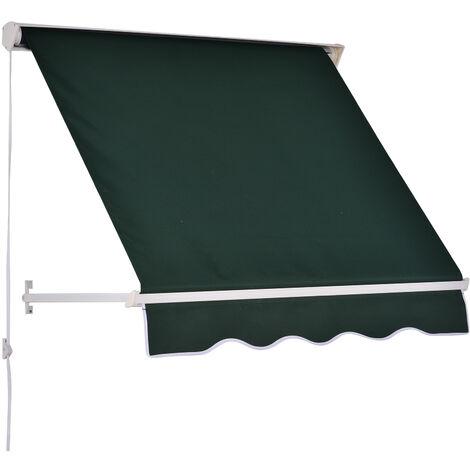 Store banne manuel inclinaison réglable aluminium polyester imperméabilisé 70L x 120l cm vert