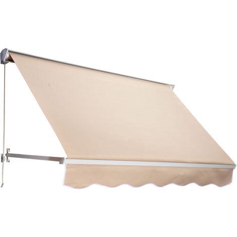 Store banne manuel inclinaison réglable aluminium polyester imperméabilisé 70L x 180l cm beige