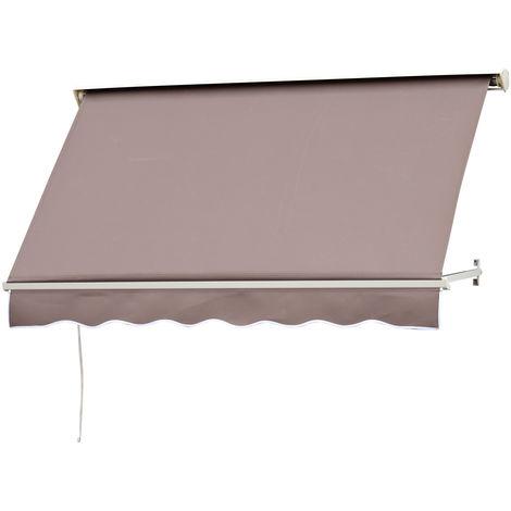 Store banne manuel inclinaison réglable aluminium polyester imperméabilisé 70L x 180l cm taupe clair