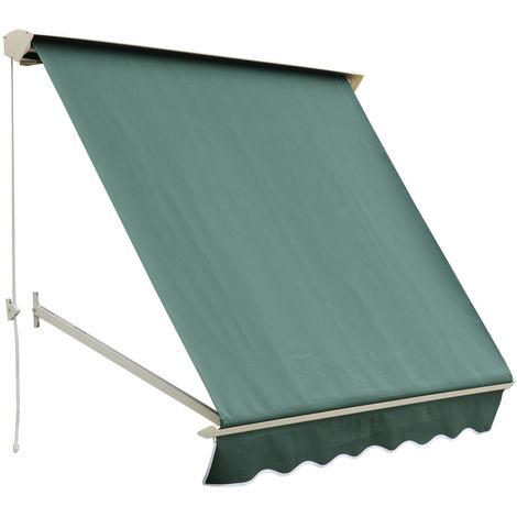 Store banne manuel inclinaison réglable aluminium polyester imperméabilisé 70L x 180l cm vert