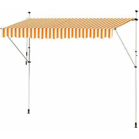 Store Banne Manuel Marquise Jardin Balcon Terrasse Auvent Télescopique 350 cm Orange Blanc Kingpower