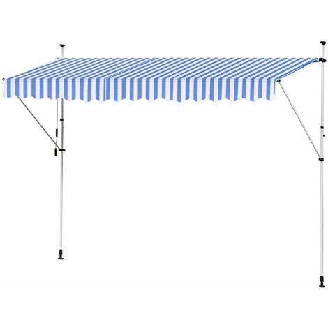 Store Banne Manuel Marquise Jardin Balcon Terrasse Auvent Télescopique 400 cm Bleu Blanc Kingpower