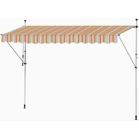 Store Banne Manuel Marquise Jardin Balcon Terrasse Auvent Télescopique 400 cm Orange Gris Kingpower