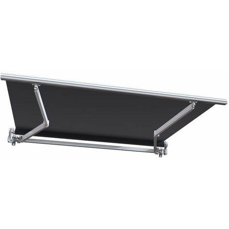 Store banne manuel Monobloc pour terrasse - Blanc métallisé - Gris