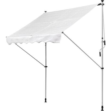 Store banne manuel rétractable 2L x 1,5l x 1,7-2,8H m inclinaison réglable installation rapide métal alu polyester blanc