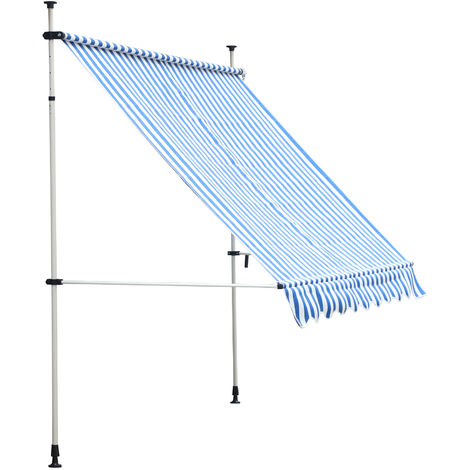 Store banne manuel rétractable 3L x 1,5l x 2-3H m inclinaison réglable installation rapide métal alu polyester bleu blanc rayé