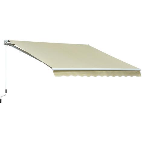 Store banne manuel rétractable alu. polyester imperméabilisé haute densité 3,5L x 2,5l m beige