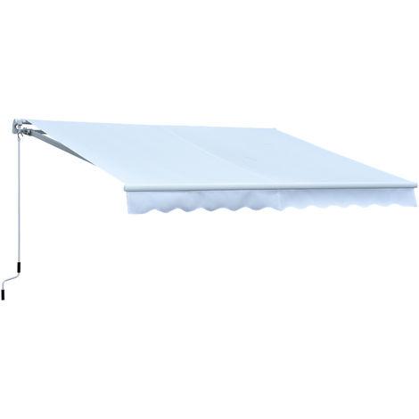 Store banne manuel rétractable alu. polyester imperméabilisé haute densité 3,95L x 3l m blanc