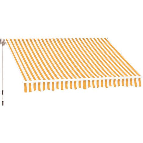Store banne manuel rétractable aluminium polyester imperméabilisé 3L x 2,5l m orange blanc rayé