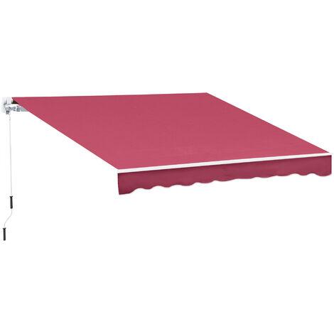 Store banne manuel rétractable aluminium polyester imperméabilisé 3L x 2,5l m rouge bordeaux