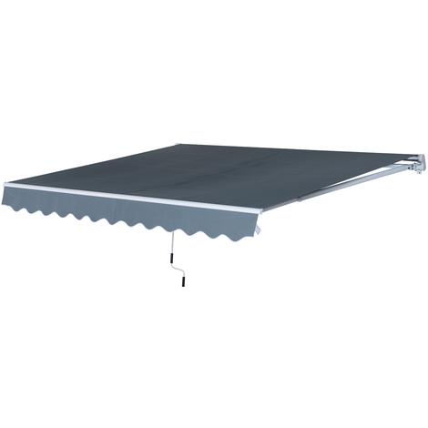 Store banne manuel rétractable aluminium polyester imperméabilisé 4L x 2,5l m gris