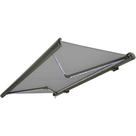 Store banne motorisé de NEMAXX avec LED, coloris de la toile gris clair, couleur de la structure anthracite, télécommande, imperméable à l'eau, 4x3m