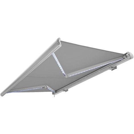 Store banne motorisé de NEMAXX avec LED, coloris de la toile gris clair, couleur de la structure blanche, télécommande, imperméable à l'eau, 4x3m