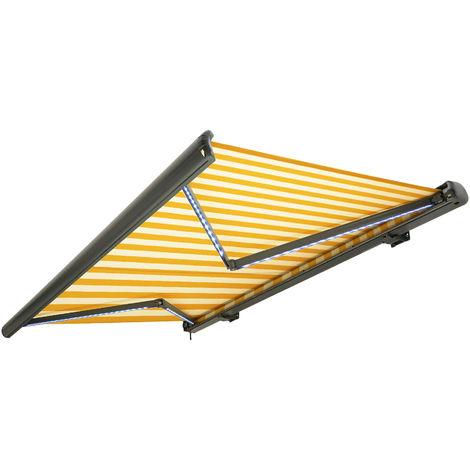 Store banne motorisé de NEMAXX avec LED, coloris de la toile jaune-blanc, couleur de la structure anthracite, télécommande, imperméable à l'eau, 4x3m
