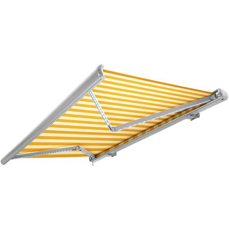 Store banne motorisé de NEMAXX avec LED, coloris de la toile jaune-blanc, couleur de la structure blanche, télécommande, imperméable à l'eau, 4x3m