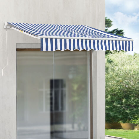 Store Banne Rétractable Manuel Marquise à Bras Articulé avec Manivelle Montage Mural Inclinaison Réglable Aluminium Polyester 250 x 200 cm Bleu Blanc