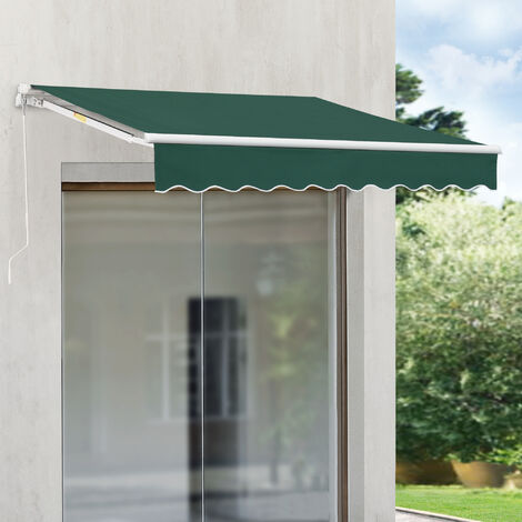 Store Banne Rétractable Manuel Marquise à Bras Articulé avec Manivelle Montage Mural Inclinaison Réglable Aluminium Polyester 300 x 250 cm Vert Foncé