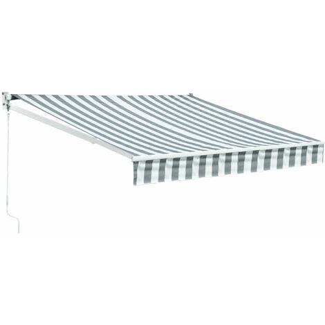 Store banne SAULE 2,95 × 2,5m - Toile rayée blanche/grise et structure blanche - Blanc