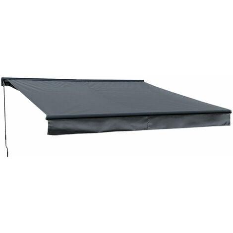 "main image of ""Store banne SAULE 3,5 × 3m avec semi-coffre - Toile anthracite et structure grise - Gris anthracite"""
