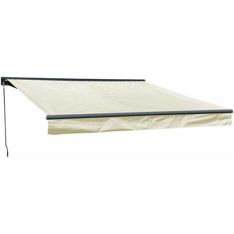 """main image of """"Store banne SAULE 3,5 × 3m avec semi-coffre - Toile beige et structure grise - Beige"""""""
