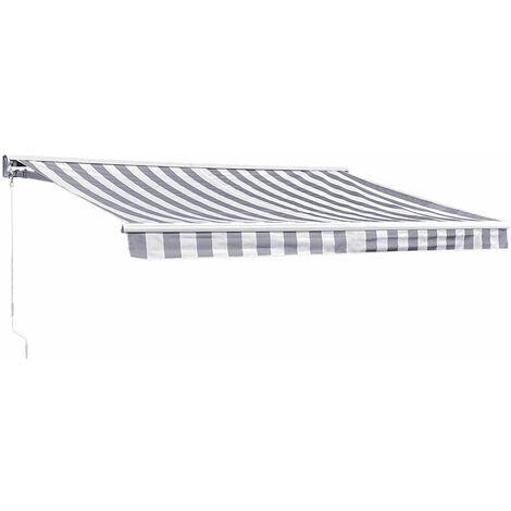 """main image of """"Store banne SAULE 3,5 × 3m avec semi-coffre - Toile rayée blanche/grise et structure blanche - Gris / Blanc"""""""