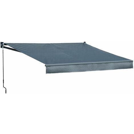 Store banne SAULE 3,5 × 3m - Toile anthracite et structure grise - Gris