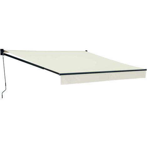 Store banne SAULE 3,5 × 3m - Toile beige et structure grise - Beige