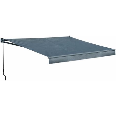 Store banne SAULE 3,95 × 3m - Toile anthracite et structure grise - Gris