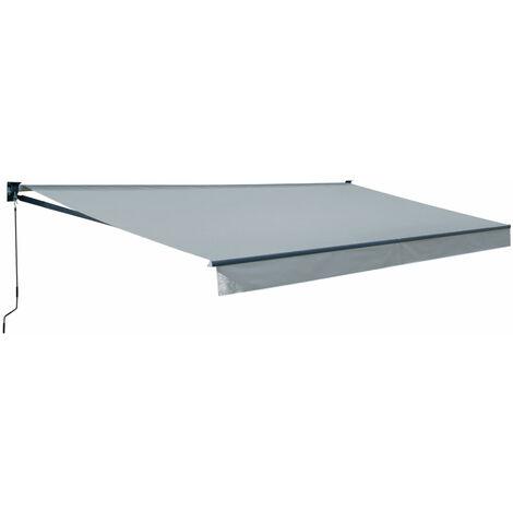 Store banne SAULE 3,95 × 3m - Toile grise et structure grise - Gris