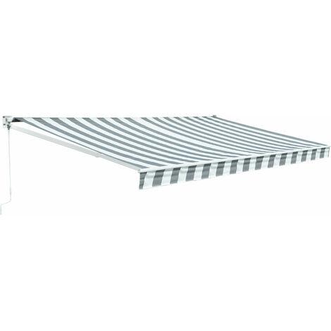Store banne SAULE 3,95 × 3m - Toile rayée blanche/grise et structure blanche - Blanc