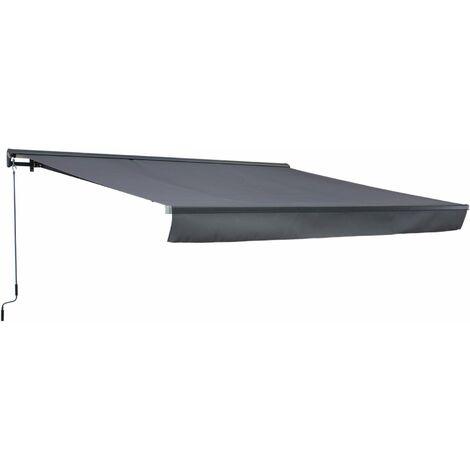 Store banne Shado 4x3m semi coffre gris, aluminium, système manuel, toile polyester enduite 280g