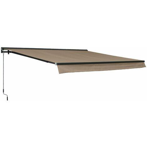 Store banne Shado 4x3m semi coffre taupe, aluminium, système manuel, toile polyester enduite 280g