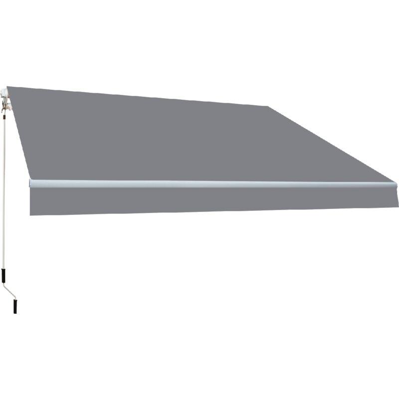 Store banne manuel 4x2,5m toile acrylique de couleur grise - Smartsun