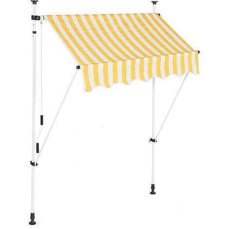 Store banne télescopique de balcon manivelle hauteur réglable résistant uv polyester acier 150 x 120 cm blanc et jaune - Blanc
