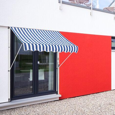 Store banne terrasse auvent à pince rétractable 300x120 cm bleu blanc ML-Design