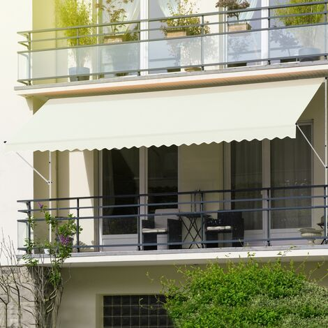 Store banne terrasse patio auvent à pince rétractable 300x120 cm beige ML-Design