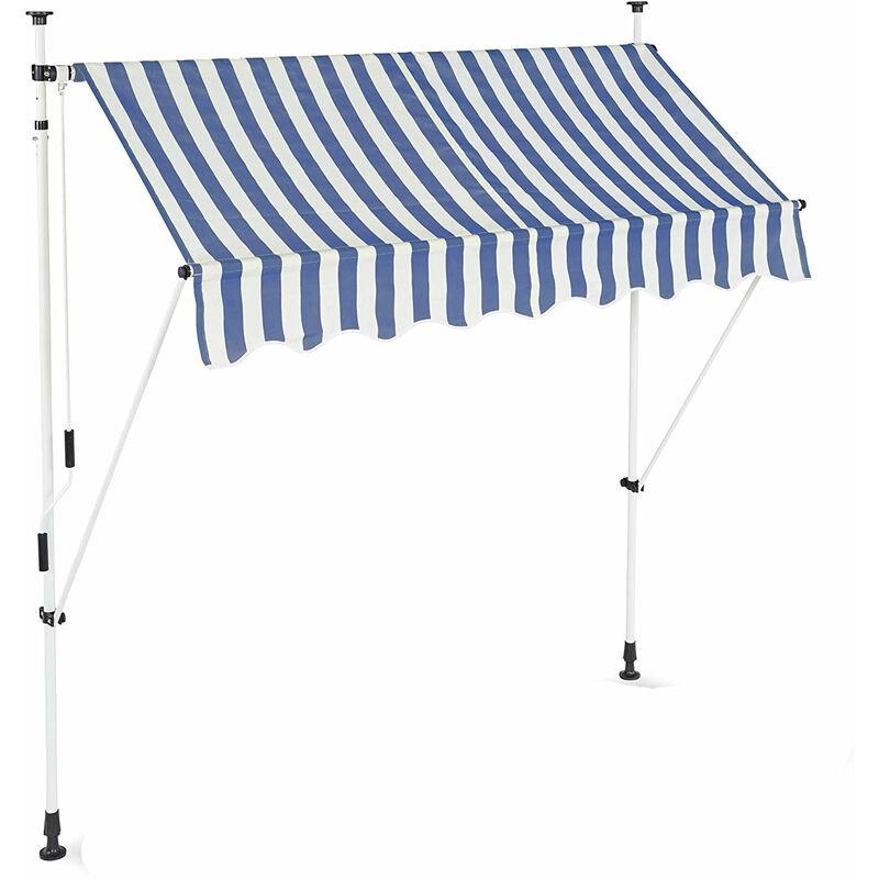 Store banne télescopique de balcon manivelle hauteur réglable résistant uv polyester acier 200 x 120 cm blanc et bleu - Blanc