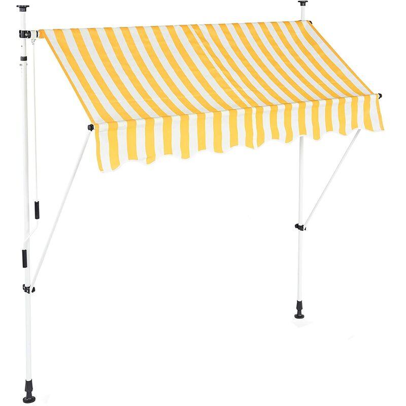 Helloshop26 - Store banne télescopique de balcon manivelle hauteur réglable résistant uv polyester acier 200 x 120 cm blanc et jaune - Blanc