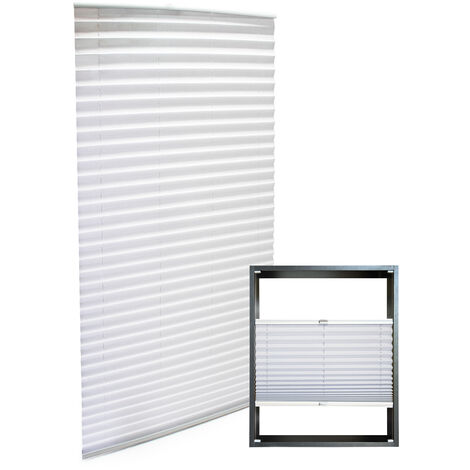 Store blanc 90*200cm Store plissé Pare-vue Moderne Rideau occultant de fenêtre Persienne
