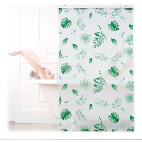 Store de baignoire, 100 x 240 cm, rideau de douche hydrofuge, plafond & fenêtre, pare-bain, blanc/vert